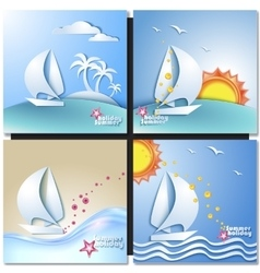 Summer vacation design set vector