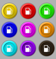 Auto gas station icon sign symbol on nine round vector