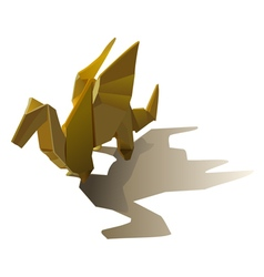 Yellow isolated origami winged dragon with shadow vector image
