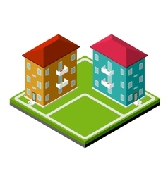 Two isometric buildings vector