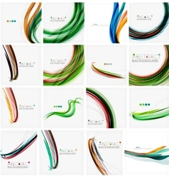 Set of colorful flowing motion abstract vector