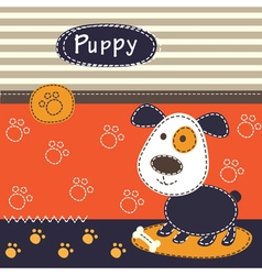 Cute baby background with dog vector