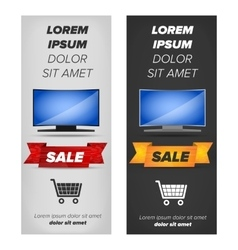 Vertical banners with plasma tv vector