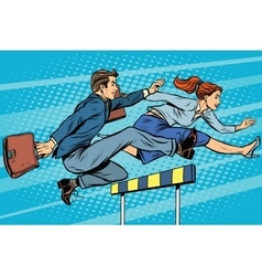 Business competition woman and man running vector image