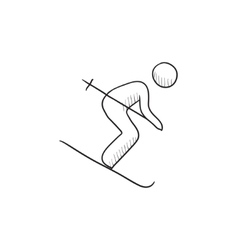 Downhill skiing sketch icon vector