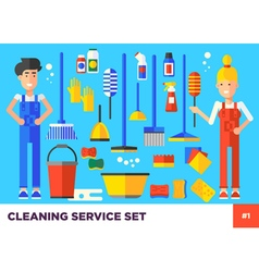 Cleaning set woman vector
