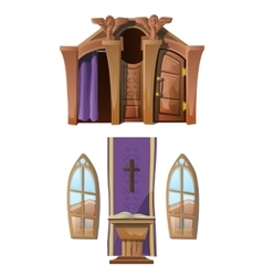 Catholic altar and windows interior of church vector