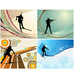 biathlon backgr set vector image