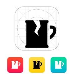 Broken beer mug icon vector image
