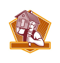 Builder carpenter carry house retro vector