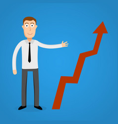 Business man present a growth chart vector