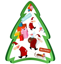 christmas tree with santa claus vector image vector image