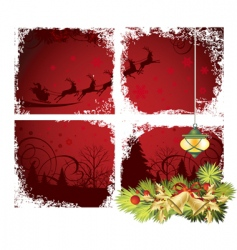 Christmas window vector image vector image