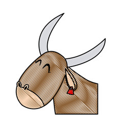 cute ox manger character design vector image vector image