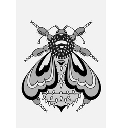 Decorative and abstract bee black and white vector image