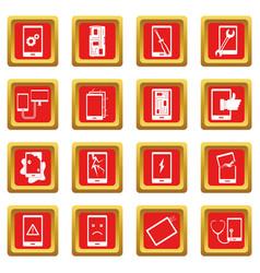 Device repair symbols icons set red vector
