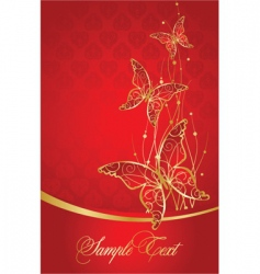 elegant red background with butterfly vector image vector image