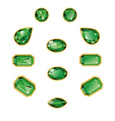 Emeralds Set Isolated Objects vector image vector image