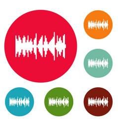 Equalizer vibration icons circle set vector
