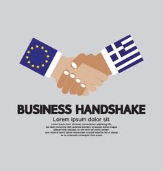 European union and greece business handshake vector