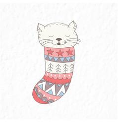 Funny little cat in the sock nursery art vector