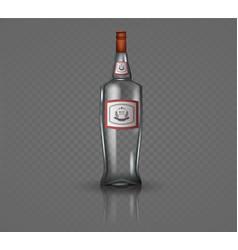 glass vodka bottle with screw cap vector image vector image