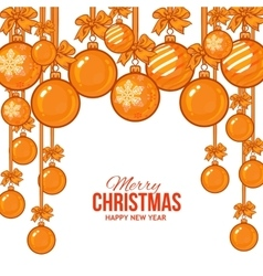Gold Christmas balls with ribbon and bows vector image vector image