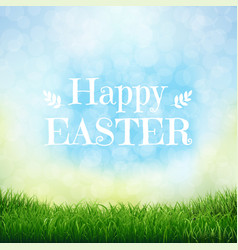 Happy easter card with grass vector