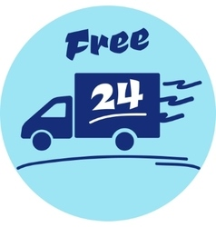 Icon of free delivery 24 hour vector