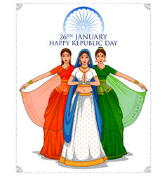 Lady in tricolor saree of indian flag for 26th vector