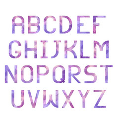 latin alphabet with triangular purple texture vector image vector image
