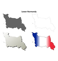 Lower normandy blank outline map set vector