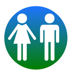 Male and female sign white icon in bluish vector