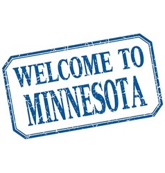 Minnesota - welcome blue vintage isolated label vector