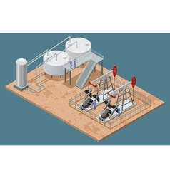 Oil Production Facilities Isometric Poster vector image