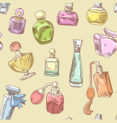 perfume bottles hand drawn seamless background vector image vector image