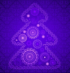 Purple christmas tree vector