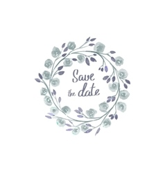 save the date lettering in a frame of watercolor vector image