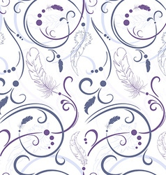 seamless floral pattern with feathers and leaves vector image