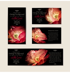 Set black elegant cards with red poppies vector