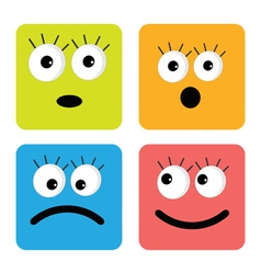 Set of cute funny face emotions Square icons Flat vector image vector image