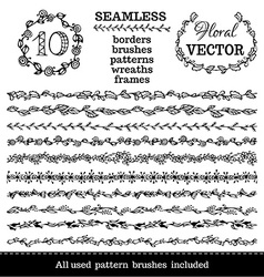 set of seamless floral borders vector image vector image
