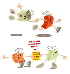 Set of shopping bag mascots vector image vector image