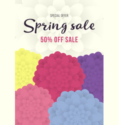 Spring sale banner sale poster sale flyer with vector