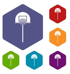 Street basketball hoop icons set vector