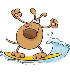 Surfing dog cartoon vector
