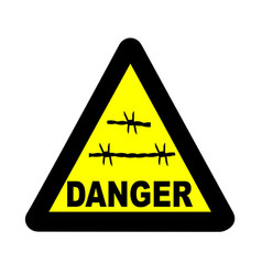 Triangle barbed wire warning sign vector