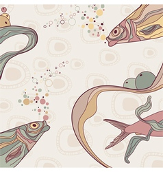 vintage fish and wive ornamental stripes on retro vector image vector image