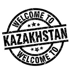 Welcome to kazakhstan black stamp vector
