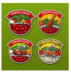 tomato sauces stickers vector image